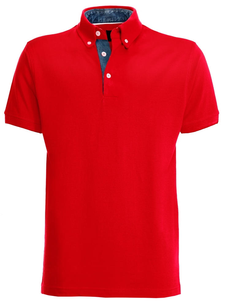red short-sleeved polo shirt