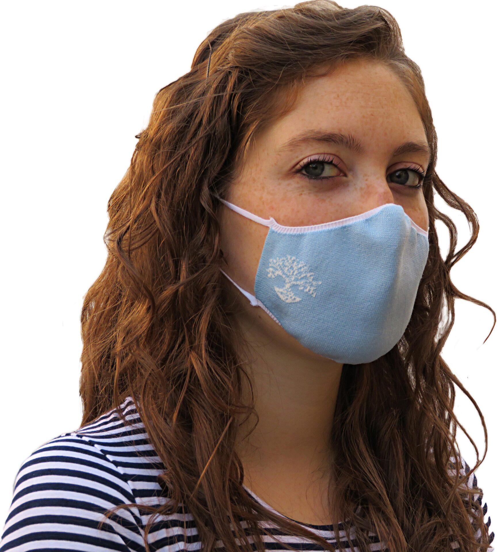 Light-blue washable face mask